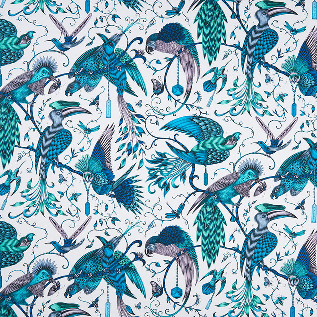 The Audubon cotton satin fabric designed by Emma J Shipley x Clarke & Clarke in the teal colour way