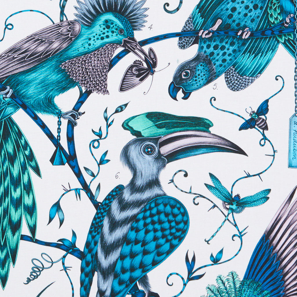 Take a closer look at the opulent Audubon design, hand drawn by Emma J Shipley for the Animalia collection with Clarke & Clarke