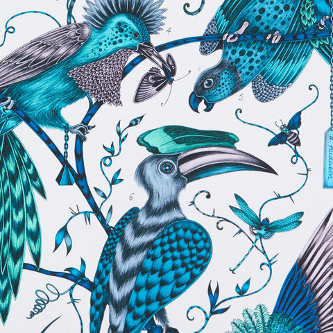 The enchanting birds of paradise on the Audubon cotton satin fabric designed by Emma J Shipley x Clarke & Clarke in the teal colour way