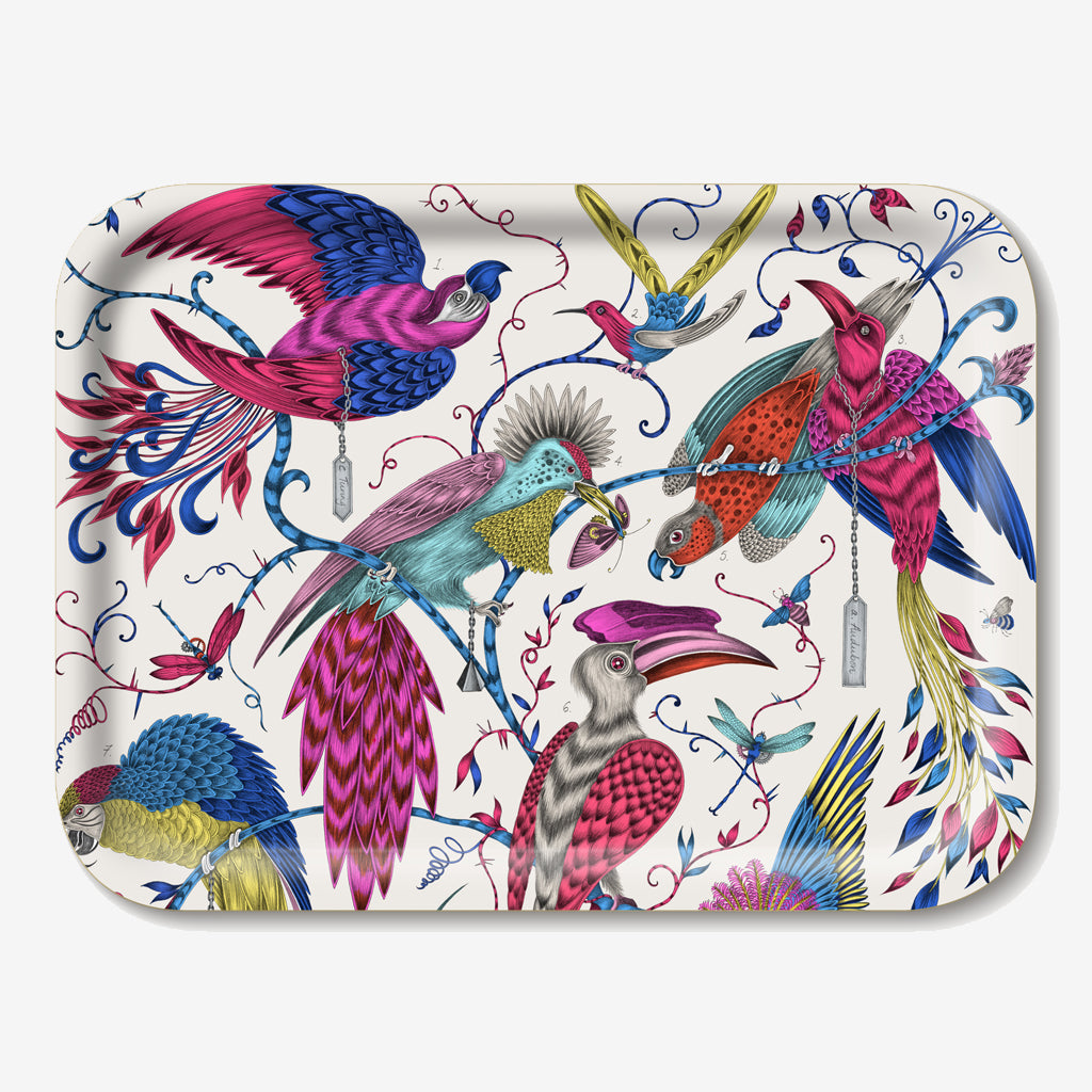 The striking Audubon tray features beautiful, tropical birds hand-drawn by Emma J Shipley