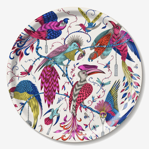 The enchanting Audubon Tray features an array of colourful, tropical birds designed by Emma J Shipley
