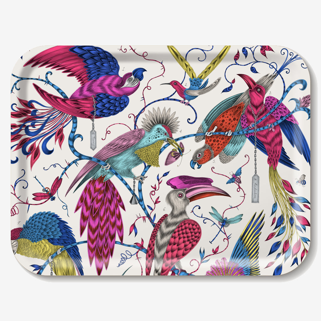 The fantastical multi coloured Audubon design upon a birch wood tray, designed by Emma J Shipley