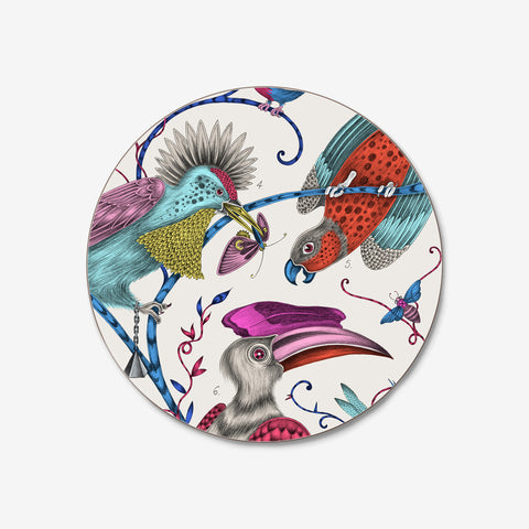 The stunning magenta Audubon Coaster created by Emma J Shipley in collaboration with Jamida features fantastical birds inspired by John James Audubon