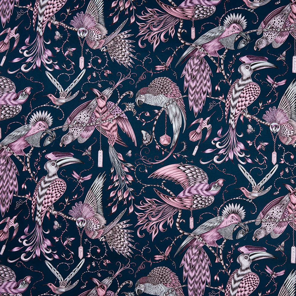 The Audubon cotton satin fabric designed by Emma J Shipley x Clarke & Clarke in the pink colour way