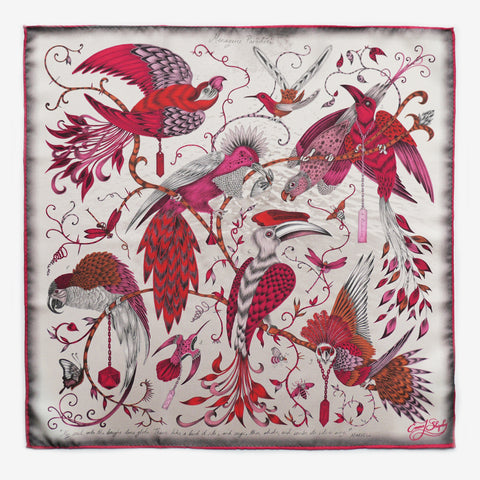 A classic men's silk pocket square featuring the Audubon illustration, by luxury designer and illustrator Emma J Shipley.