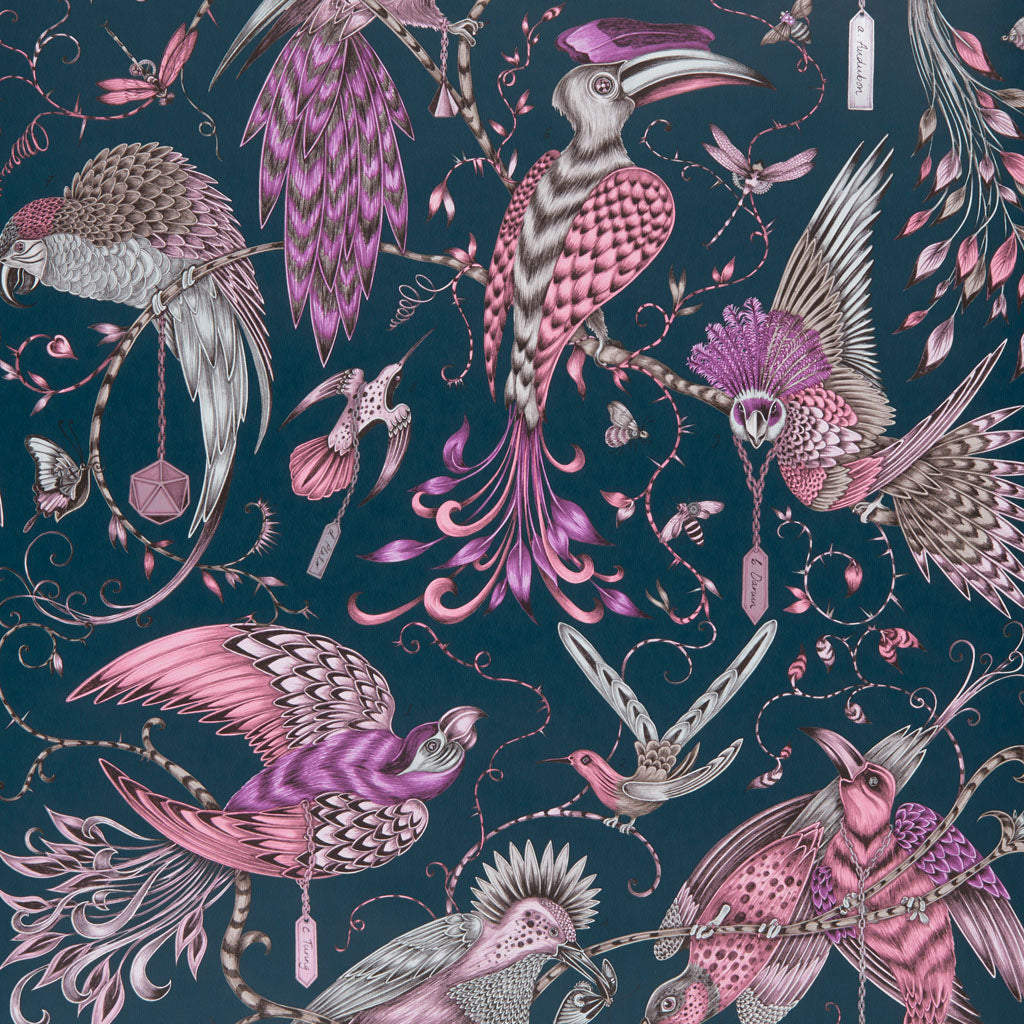 The magical Audubon wallpaper designed by Emma J Shipley in collaboration with Clarke & Clarke is dramatic in both design and colour to create a statement
