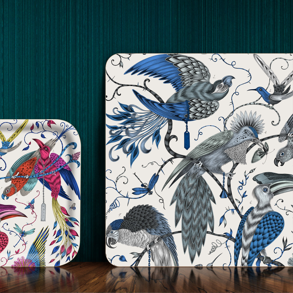 The fantastical magenta Audubon Tray features beautifully hand-drawn tropical birds by Emma J Shipley