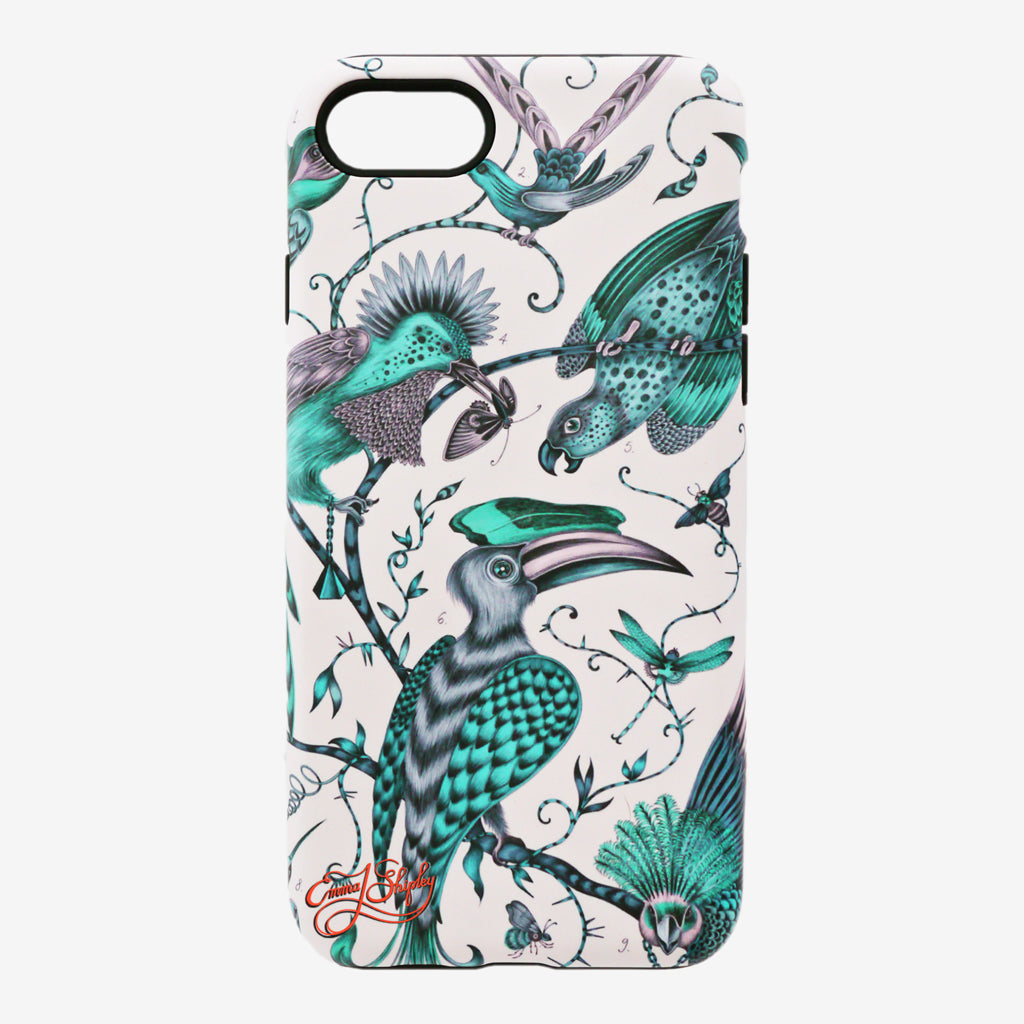 Limited edition matte finish phone case in the teal Audubon design featuring a flock of majestic birds hand drawn by Emma J Shipley