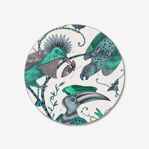 The whimsical lime green Audubon Coaster created by Emma J Shipley in collaboration with Jamida features fantastical birds inspired by John James Audubon