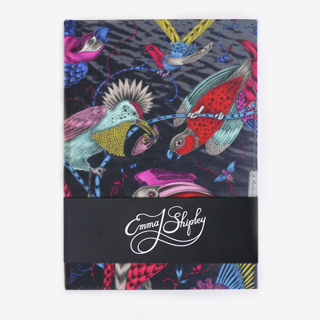 The fantastical multicoloured Audubon silk covered notebook, by luxury designer and illustrator Emma J Shipley