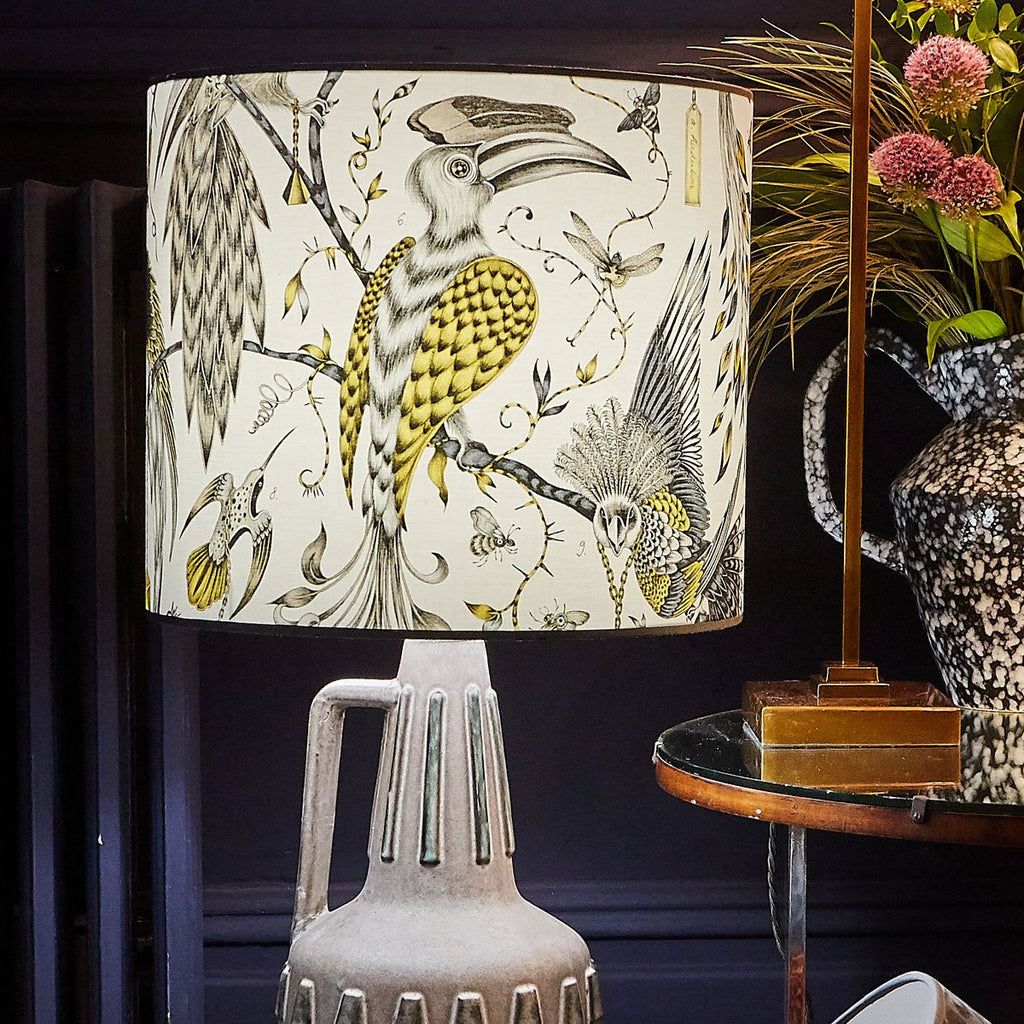Emma J Shipley's maximalist Audubon lampshade in soft yellow and gold tones