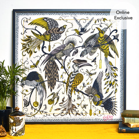 Just like in John James Audubons sketches, the Audubon design is full of magical intertwining birds and branches, designed by Emma J Shipley the design has hints of gold for the Art work and is a fantasy of birds for any home interior