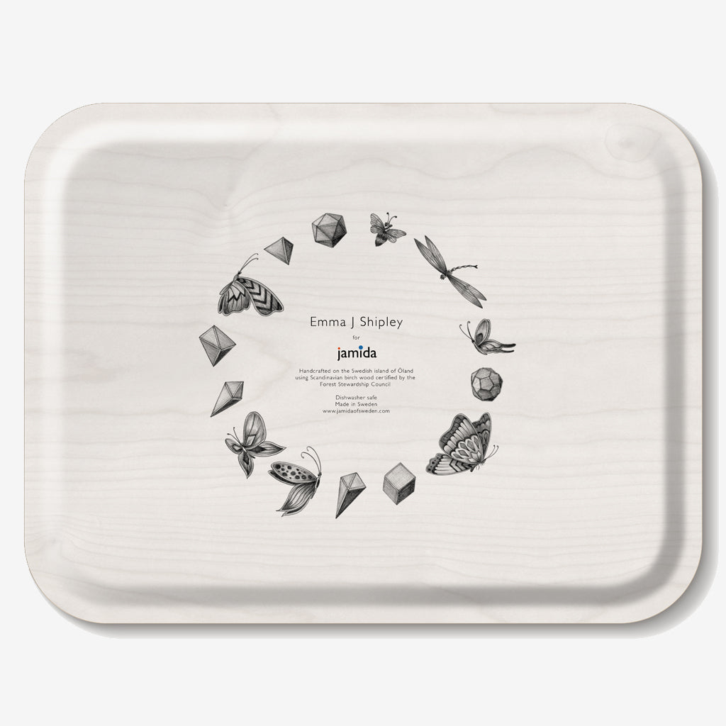 The Audubon Tray shows a tropical scene of beautiful birds in flight, designed and drawn by Emma J Shipley