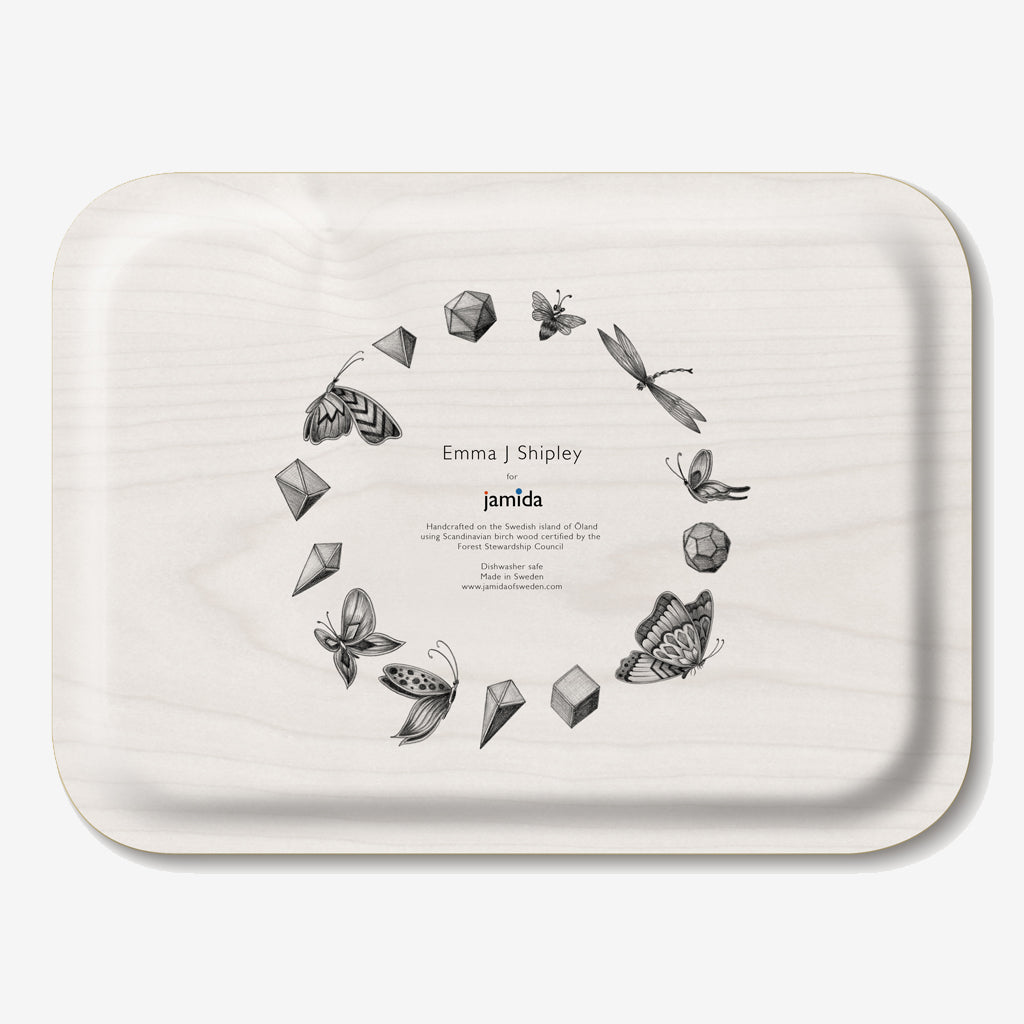 The fantastical, tropical birds of the Audubon design upon a birch wood tray, designed by Emma J Shipley