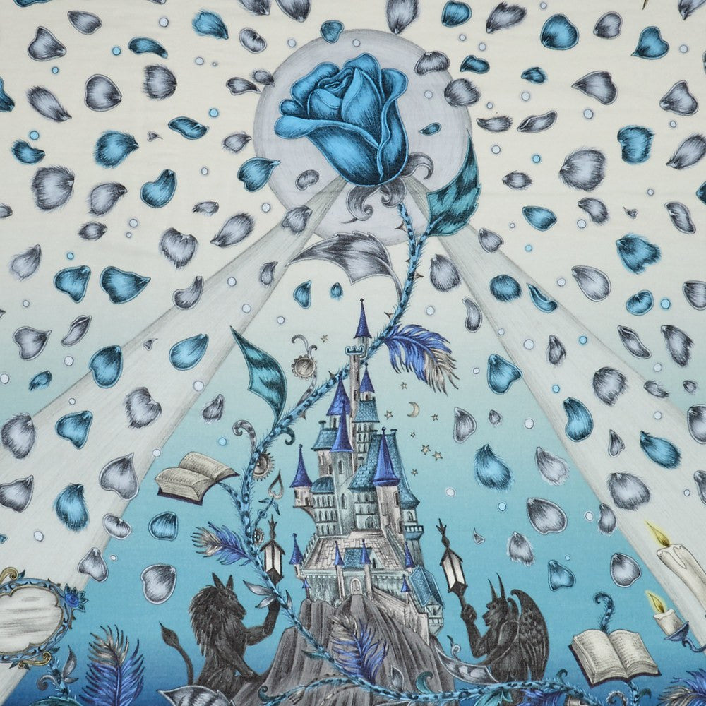 Detailed image of the enchanting castle featured on the Emma J Shipley luxurious Modal Blend Scarf in Blue, complete with the cursed rose and petals.