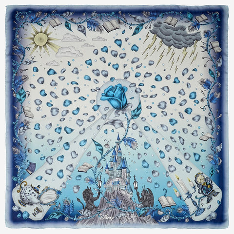 The Beauty and the Beast Silk Chiffon Scarf in Blue is lightweight, luxurious and the perfect gift for any Disney fan.