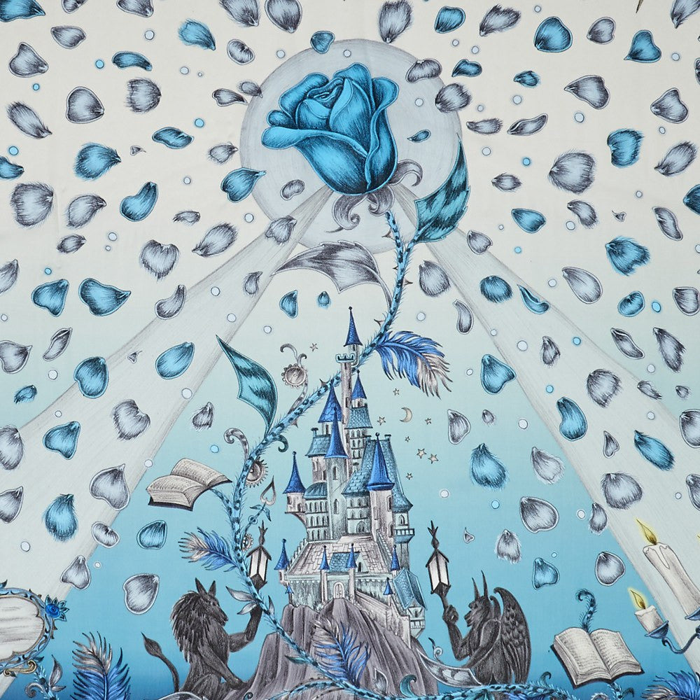Detailed image of the enchanting castle featured on the Emma J Shipley luxurious Silk Chiffon Scarf in Blue, finished with the cursed rose and petals filling the scene.