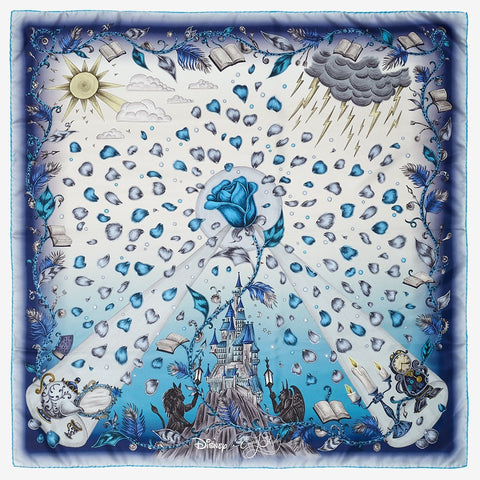 Flat shot image of the Beauty and the Beast Classic Silk Scarf in Blue by luxury designer and illustrator Emma J Shipley.