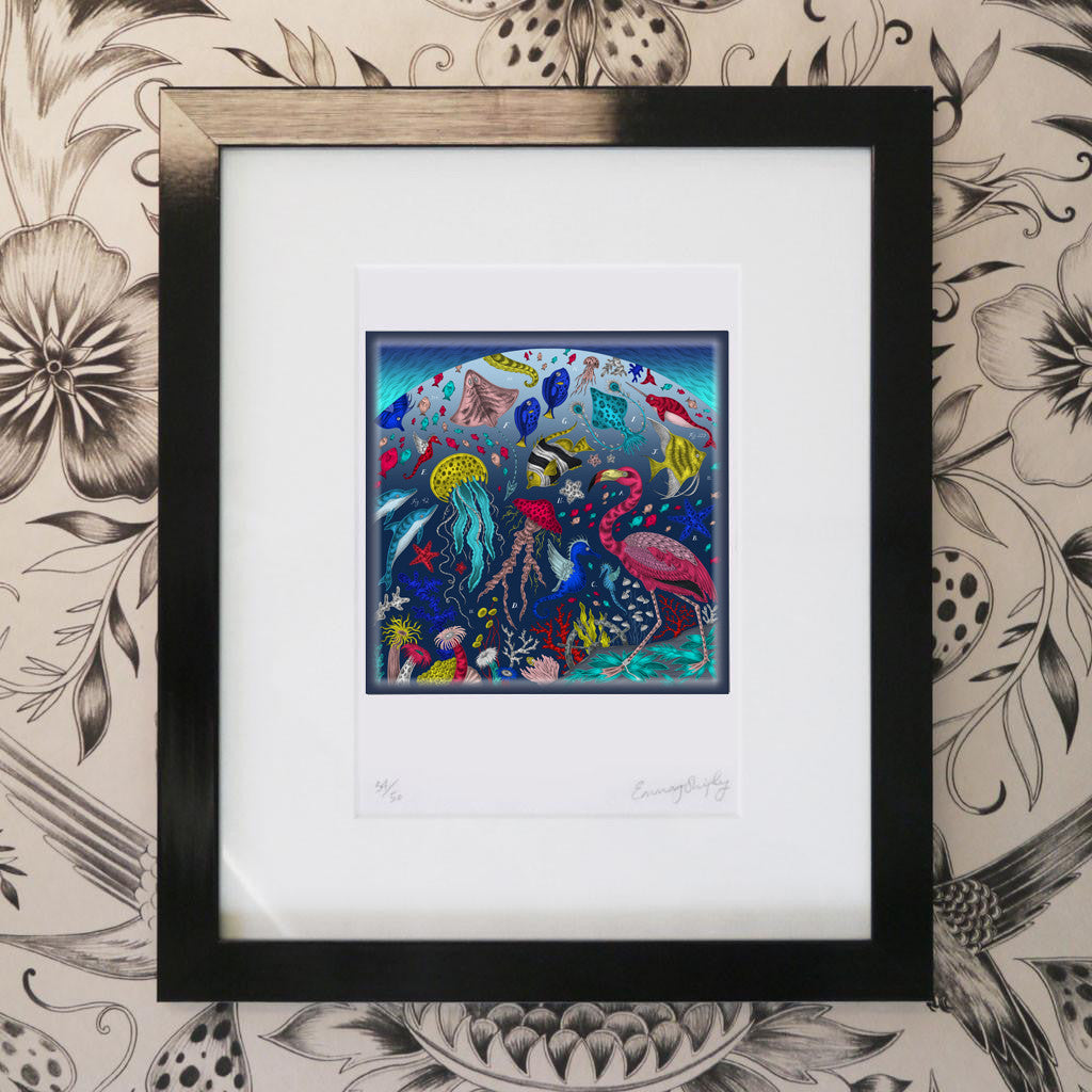 The undersea Neptune coloured print by luxury designer and illustrator Emma J Shipley, featuring an array of sea creatures surveyed by a curious flamingo.