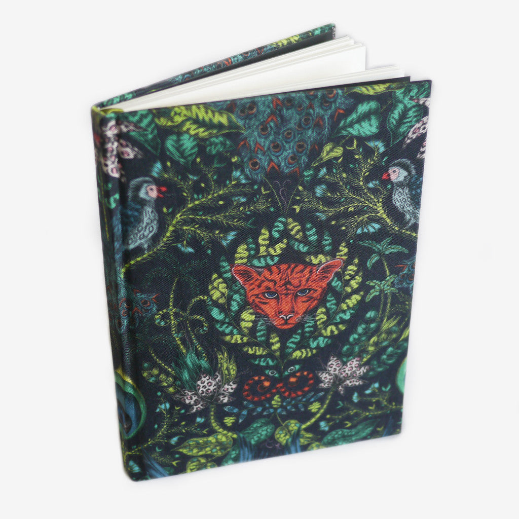 This jungle notebook is sustainably made using leftover silk and cotton from our scarf and cushion production