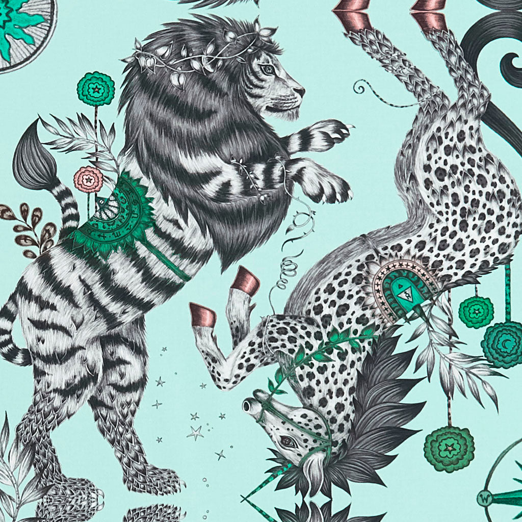 The Aqua Caspian Cotton Satin fabric illustrated by Emma J Shipley features the iconic British lion and unicorn and is inspired by C.S Lewis's enchanting world of Narnia. Perfect for upholstering chairs and furniture, as well as curtains and drapery