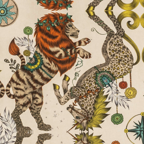 A Detail Shot of the Golden Caspian Print on Linen by Emma J Shipley with Clarke & Clarke. Featuring a British Lion and Unicorn covered in leopard print and inspired by Narnia.