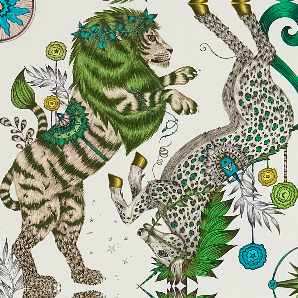 The Caspian pattern Cotton Satin fabric illustrated by Emma J Shipley features the iconic British lion and unicorn and is inspired by C.S Lewis's enchanting world of Narnia. Perfect for upholstering chairs and furniture, as well as curtains and drapery.