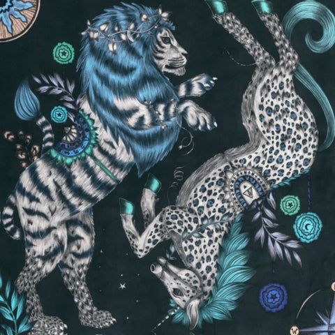 The Caspian Velvet Fabric in Navy features a Grey lion and unicorn design inspired by The Chronicles of Narnia. From our magical Wilderie collaboration with interior experts Clarke & Clarke, designed by Emma J Shipley. The Fabric is perfect for curtain drapery, upholstery and other soft house furnishings.