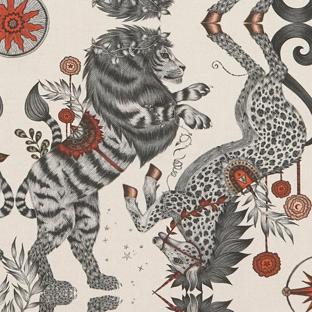 A close up of the Caspian Nude Linen, Part of the New Emma J Shipley Wilderie Collection featuring a British Lion and Unicorn with Leopard spots. Perfect for upholstery, Sewing and curtain drapery