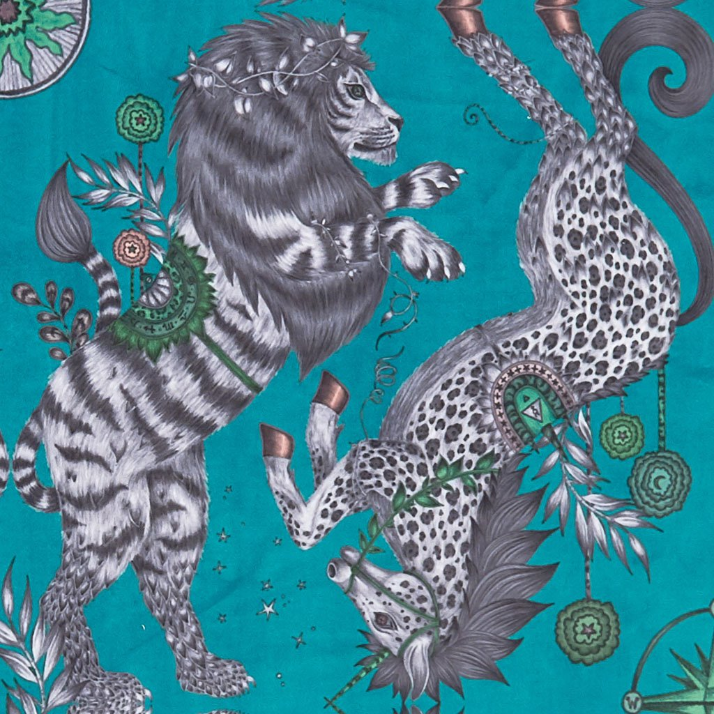 The Teal Caspian Velvet Fabric features a lion and unicorn design inspired by The Chronicles of Narnia. From our magical Wilderie collaboration with interior experts Clarke & Clarke, designed by Emma J Shipley