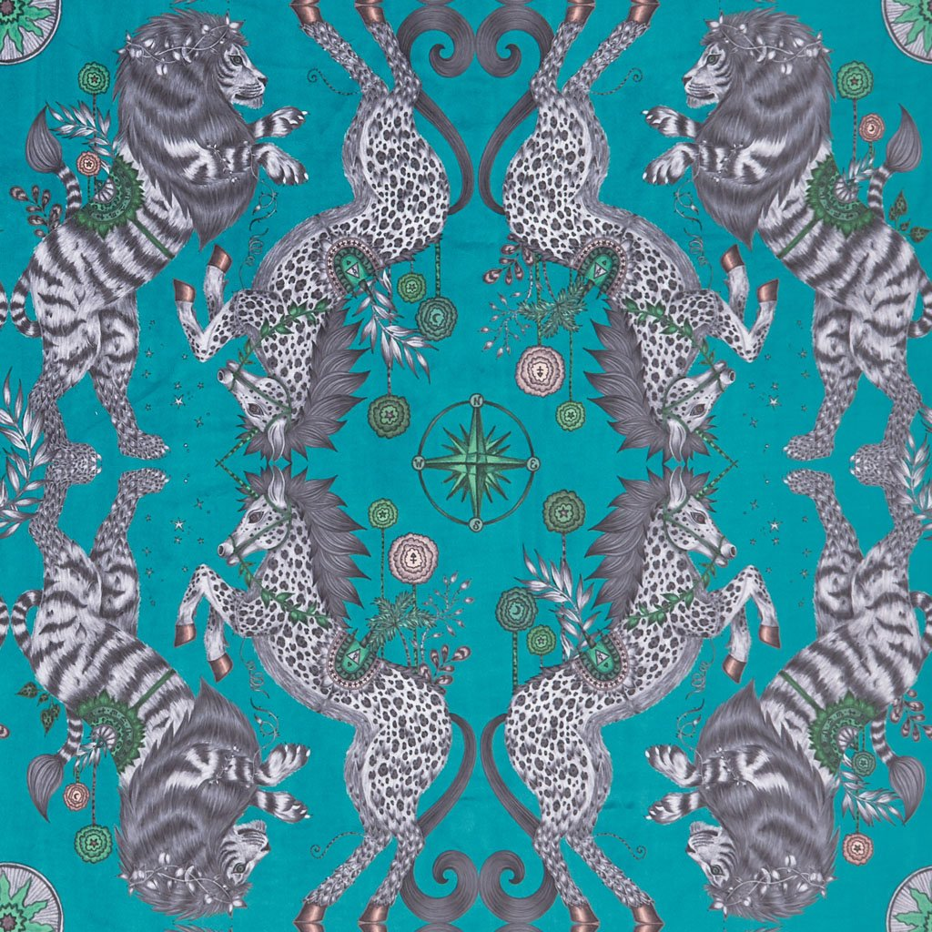 The Caspian Velvet fabric in Teal illustrated by Emma J Shipley features the iconic British lion and unicorn and is inspired by C.S Lewis's enchanting world of Narnia. Perfect for upholstering chairs and furniture, as well as curtains and drapery.
