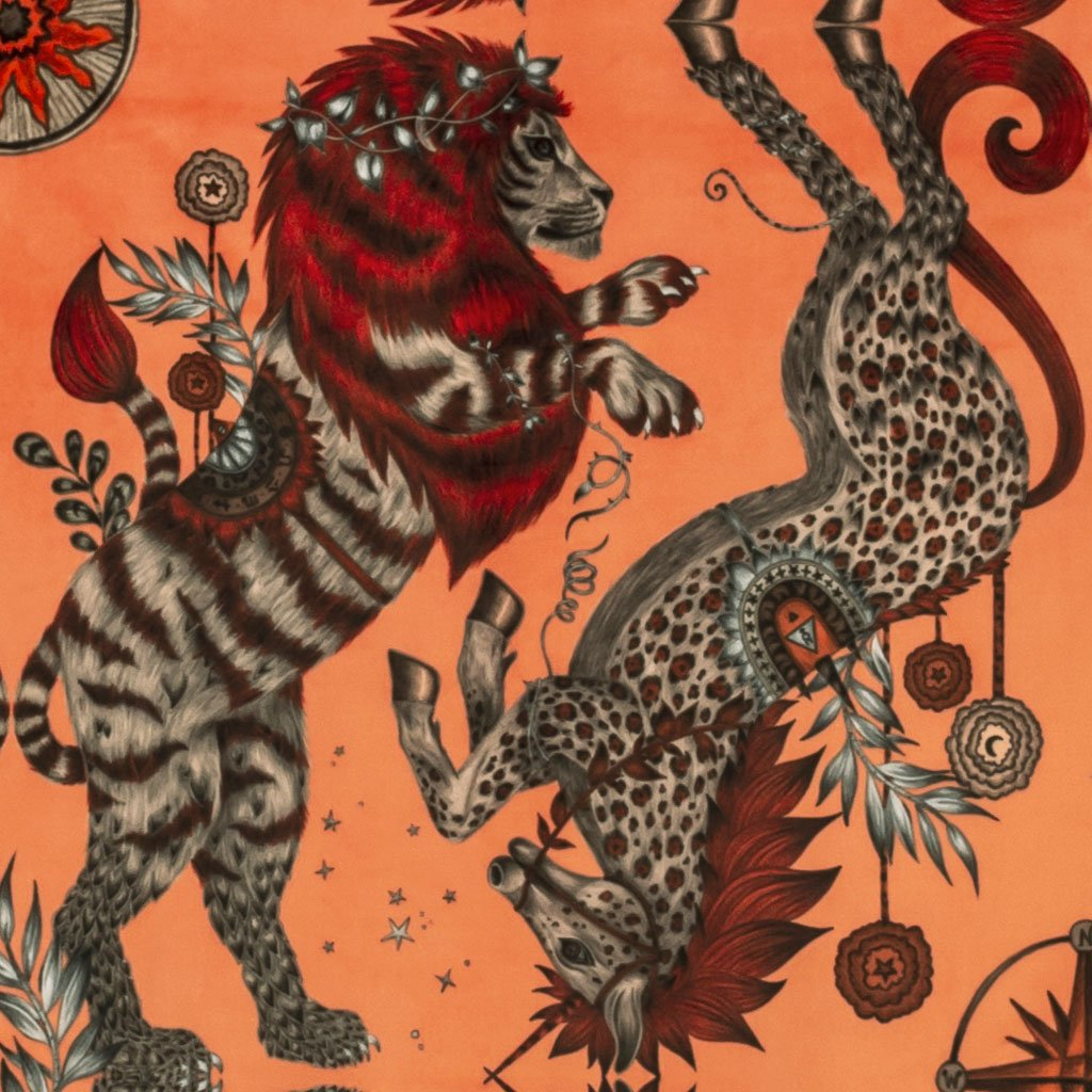 This rich coral orange Caspian Velvet Fabric features a lion and unicorn design inspired by The Chronicles of Narnia. From our magical Wilderie collaboration with interior experts Clarke & Clarke, designed by Emma J Shipley
