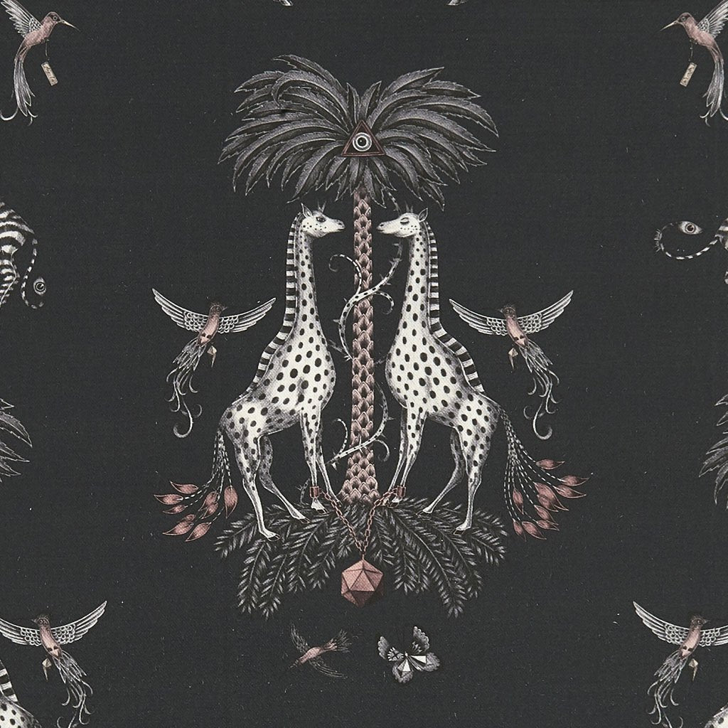 A close view of the Creatura Print Designed by Emma J Shipley for her Wilderie Collection with Clarke and Clarke, featuring giraffes standing majestically under palm trees and leaping Zebras