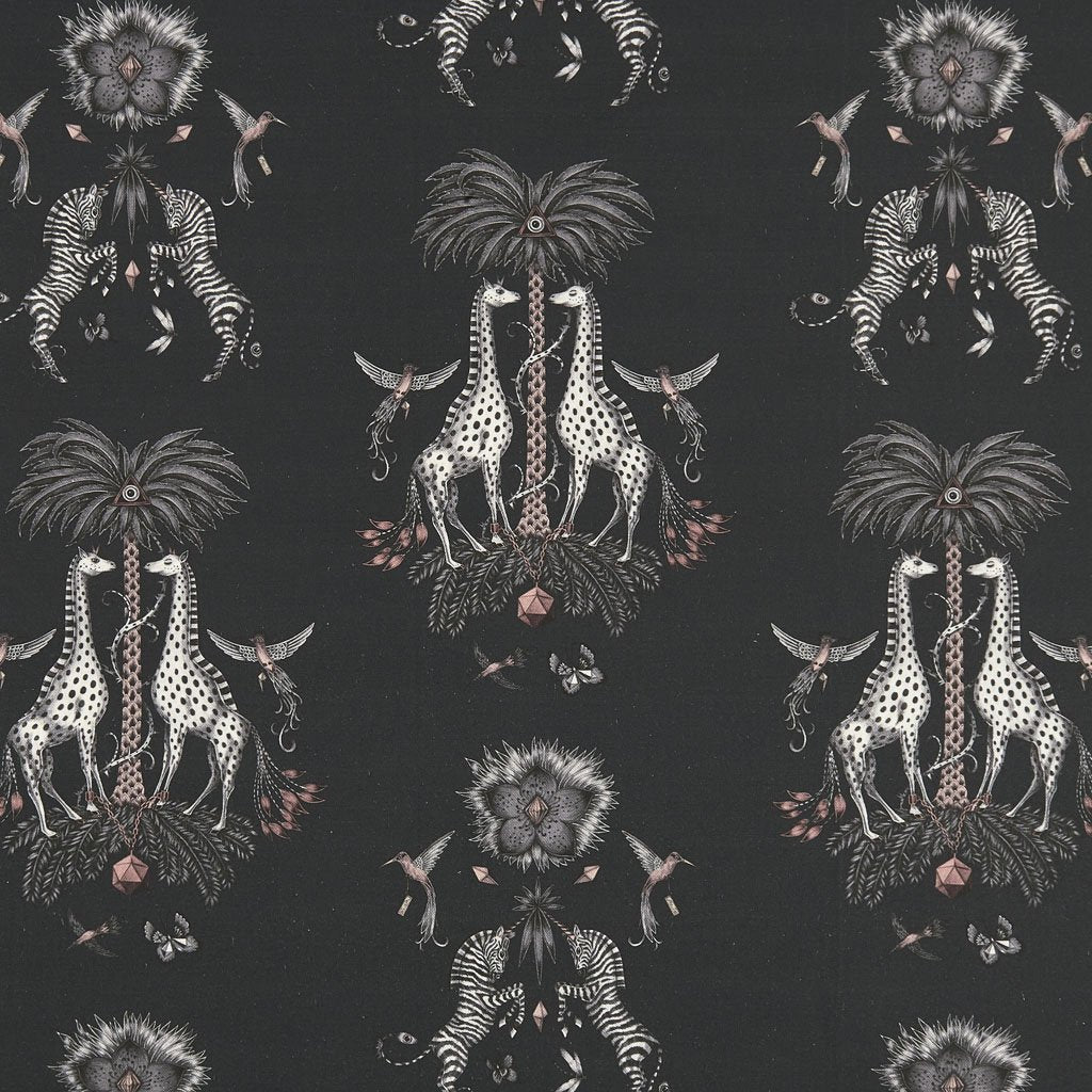An overall view of the Creatura Grey Linen Designed by Emma J Shipley in collaboration with Clarke & Clarke. Showing the Zebras and Giraffes in full and giving a good look at the different details