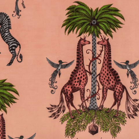 The Creatura Velvet Fabric features a Giraffe and zebra among palm trees and flying birds. From Our magical Wilderie collaboration with interior experts Clarke & Clarke, designed by Emma J Shipley. This fabric will bring colourful animal magic into your home