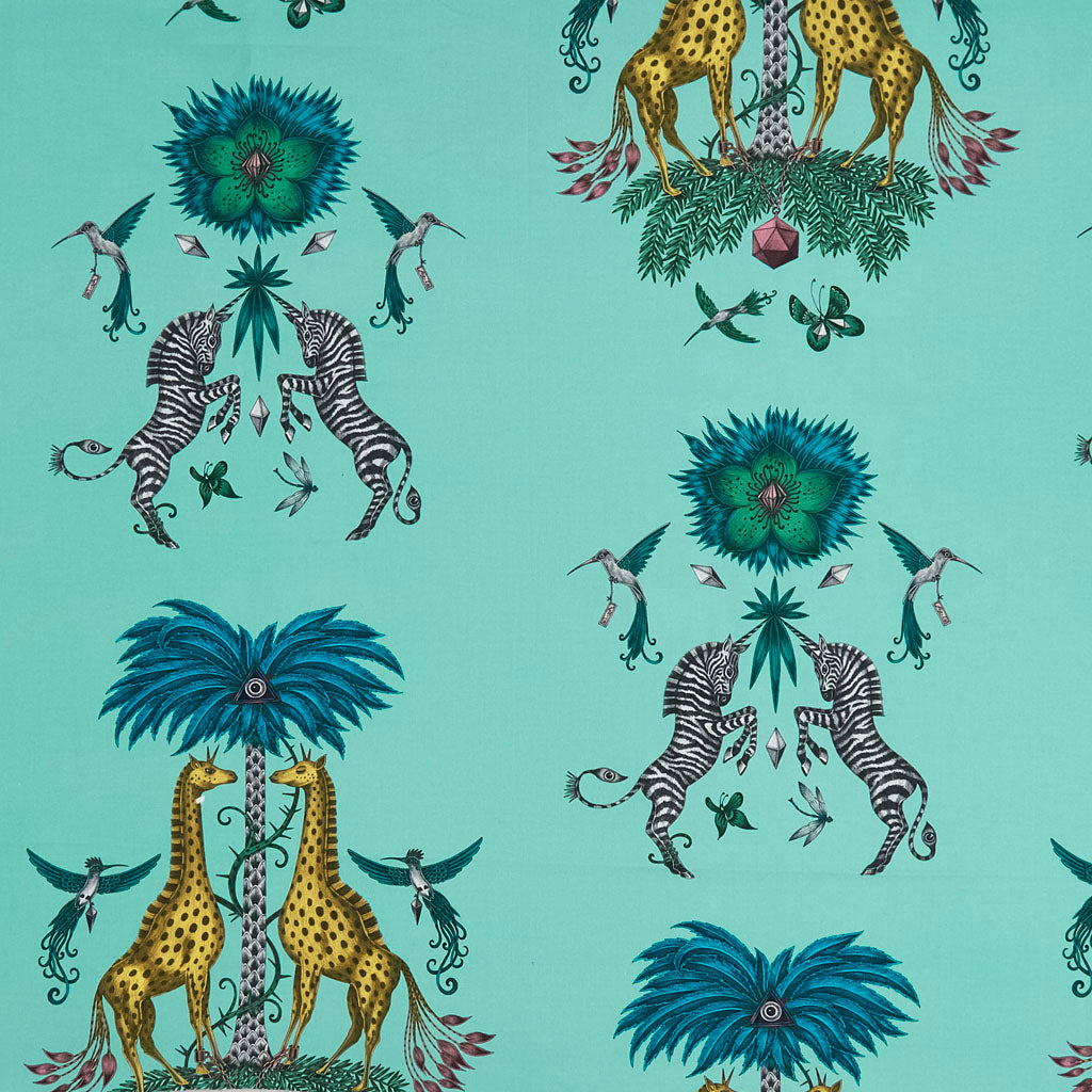 The magical animal fabric 'Creatura' from Emma J Shipley, featuring enchanting animals including giraffes and zebras, it's perfect for curtains, cushions, upholstery and more.