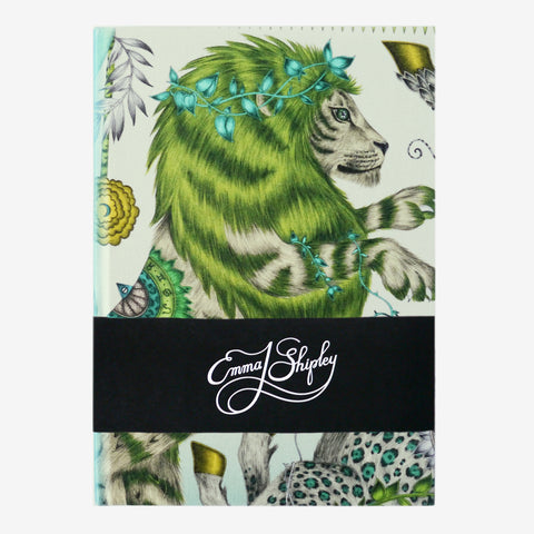 The majestic lion upon the Caspian Silk Notebook, designed by Emma J Shipley