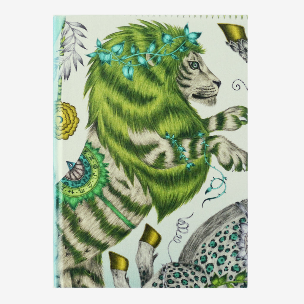 The enchanting lion and unicorn of the Caspian design make a bold statement upon the Caspian Silk Notebook, designed by Emma J Shipley
