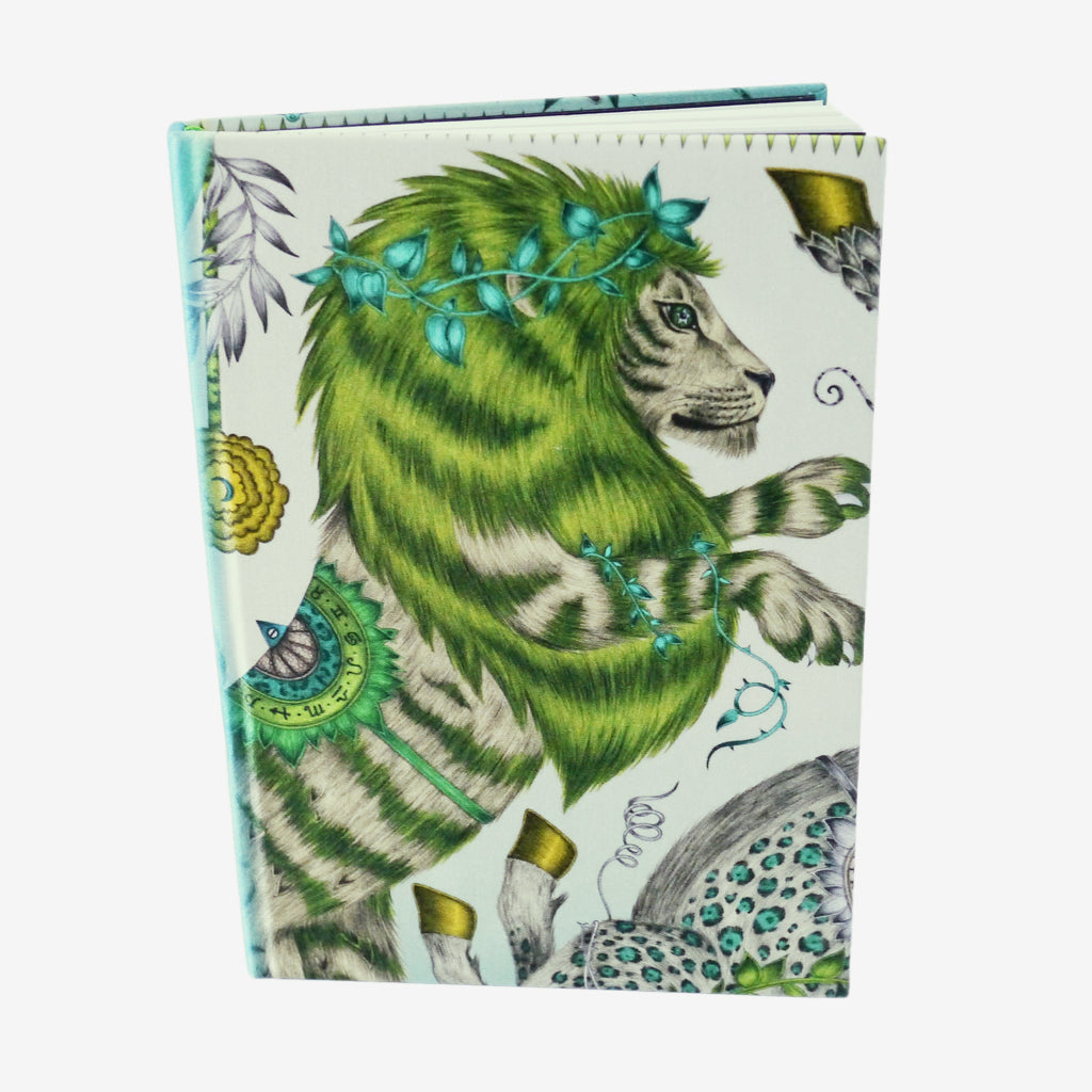 The magical lion of the Caspian design hand drawn by Emma J Shipley features on the Caspian Silk Notebook