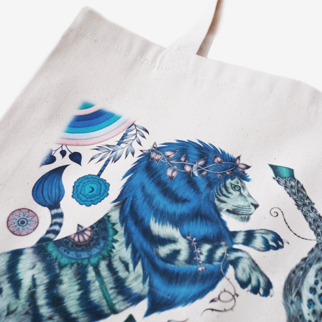 The magical lion of the Caspian design hand drawn by Emma J Shipley features on the brand new Caspian tote bag