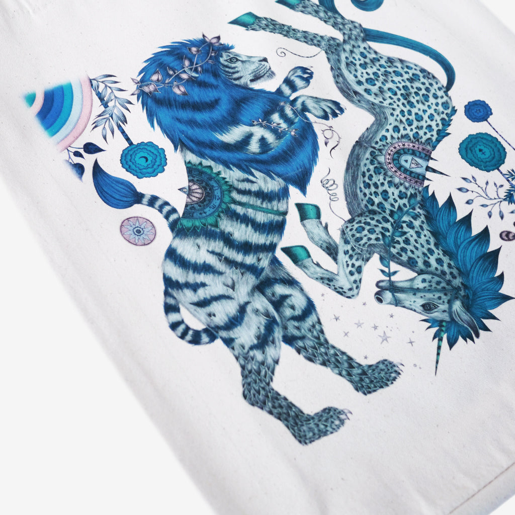 The fantastical tote bag designed by Emma J Shipley features the Caspian lion and unicorn