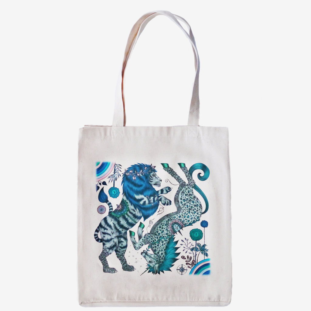 The Caspian design upon a canvas tote bag designed by Emma J Shipley features a magical lion and unicorn in stunning blue shades
