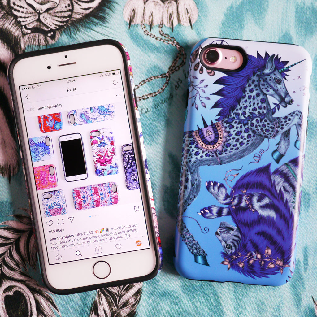 The striking Caspian Phone Case features a magical unicorn and lion hand drawn by Emma J Shipley