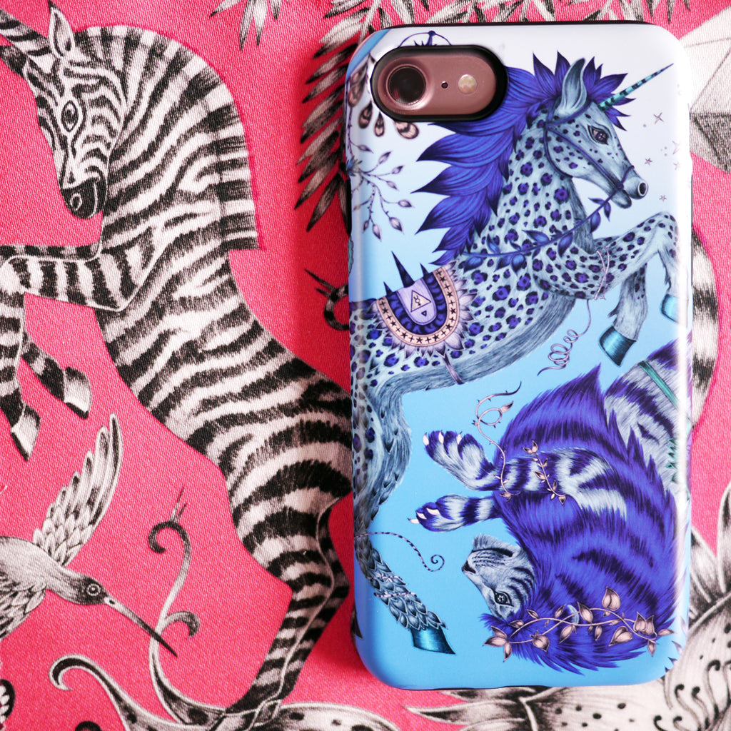 The unicorn and lion of the Caspian Phone Case are hand drawn by designer Emma J Shipley