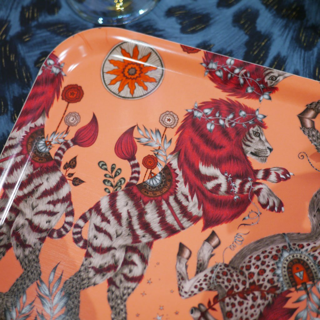 Detail of Emma J Shipley's Caspian tray with an illustrated lion and unicorn