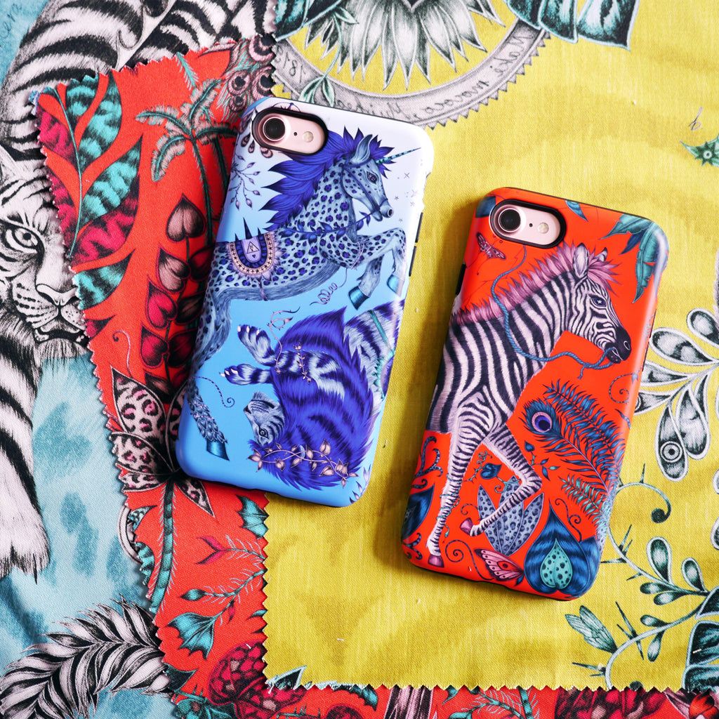 Surreal creatures hand drawn by Emma J Shipley adorn these colourful phone cases