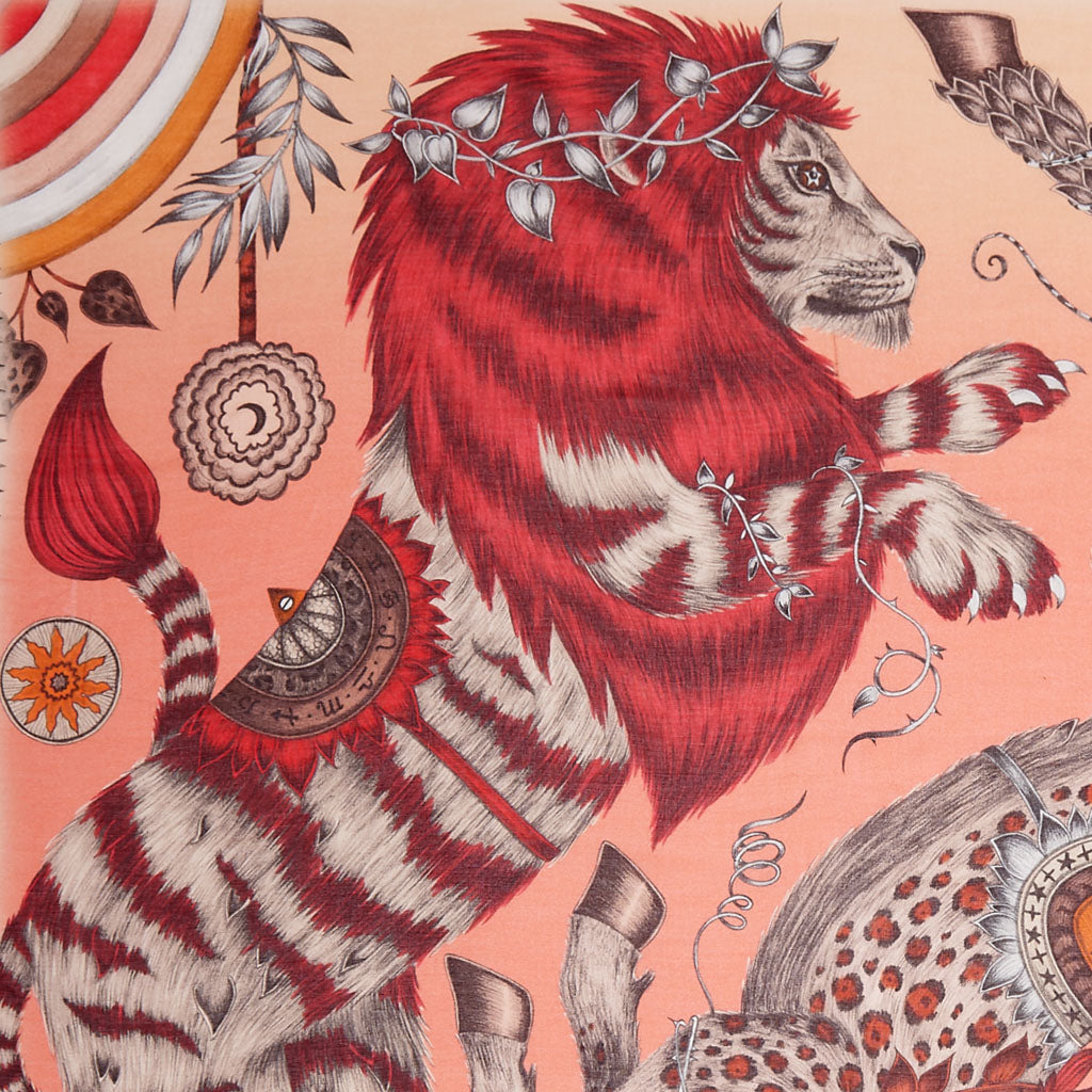 The Caspian Modal Blend Scarf features the majestic lion in a beautiful coral and orange colour scheme