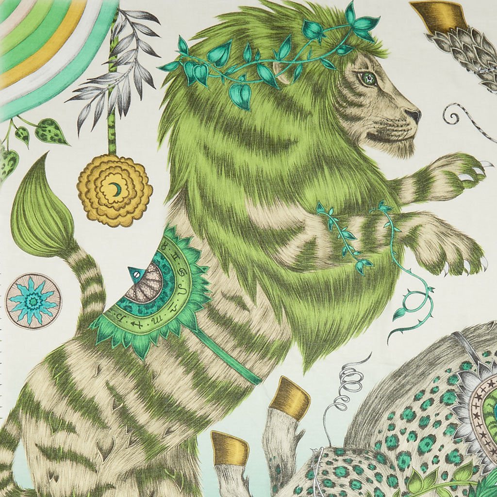 The fantastical lion in the Caspian design is hand drawn by Emma J Shipley