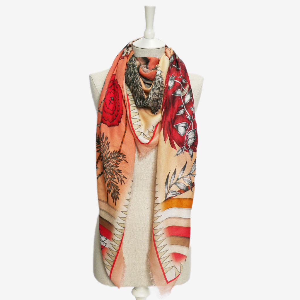 How to wear the beautiful Caspian Modal Blend Scarf, designed and hand drawn by Emma J Shipley