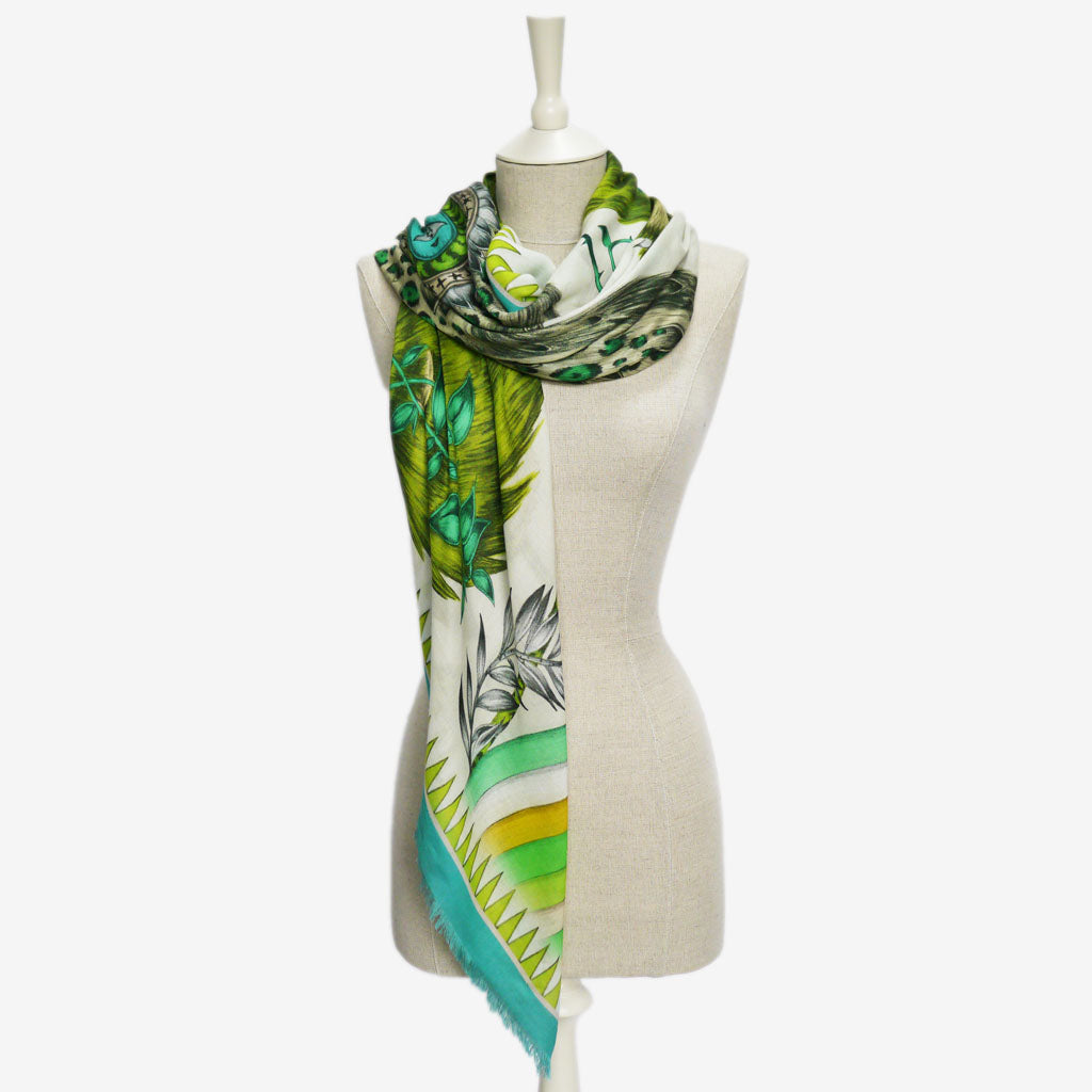 One way to wear the beautifully intricate Caspian Modal Blend Scarf by Emma J Shipley